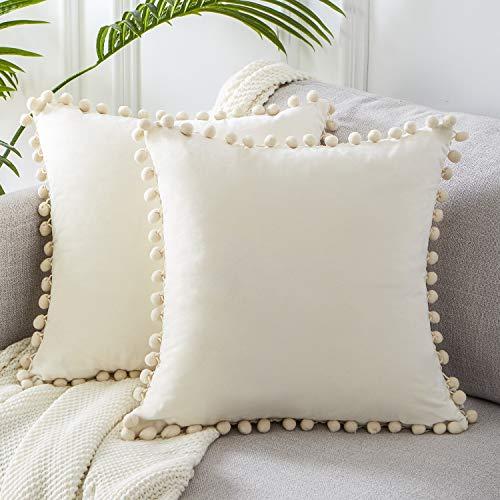 Topfinel Cream Velvet Cushion Covers 20x20 Inch Soft Square Decorative Throw Pillowcases for Livingroom Sofa Bedroom 50cmx50cm,Pack of 2