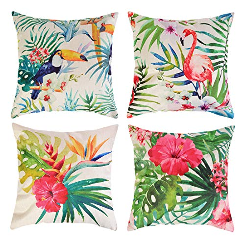 Adisputent Cushion Cover Tropical Plant Cotton Linen Decorative Throw Pillow Covers Flamingos Leaf for Sofa Couch Car, Square Pillowcase, 18x18 Inch, Set of 4