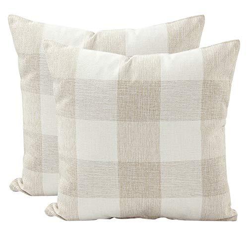 JOTOM Plaids Tartan Linen Pillow Cover,Cushion Covers for Home Sofa Car Outdoor Decorative 45 x 45cm,Set of 2 (Checkered,Beige White)