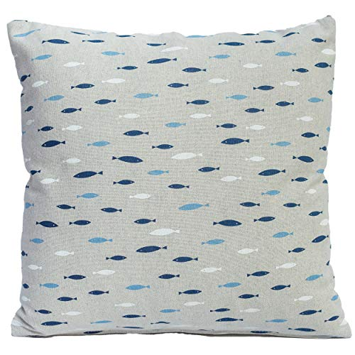 Nautical cushion cover. Small blue fish printed on a linen-effect background. 17' x 17' Square cushion cover, perfect for boats, beach huts etc.