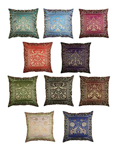 Elephant Banarasi Silk Cushion Covers - Set of 10, 40x40cm for Gift Indian Ethnic Throw Pillows Living Room Multicolour Pillow Case Handcrafted Embroidered Pattern for Sofa Decorative Decoration
