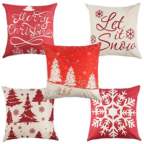Yangbaga Set of 5 Christmas Pillow Cover Cotton Linen Decorative Pillowcases Christmas Snowflake Sofa Cushion Cover for Home Christmas Favor, 45 * 45cm / 18 * 18 Inches