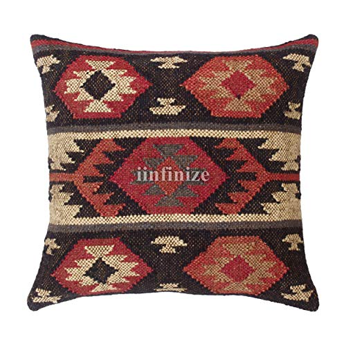 iinfinize Traditional Kilim Cushion cover Moroccan Hippie Pillow Moroccan Indoor Pillow Cover Jute Euro sham Wool Jute Square Pillow Boho Sofa Pillow