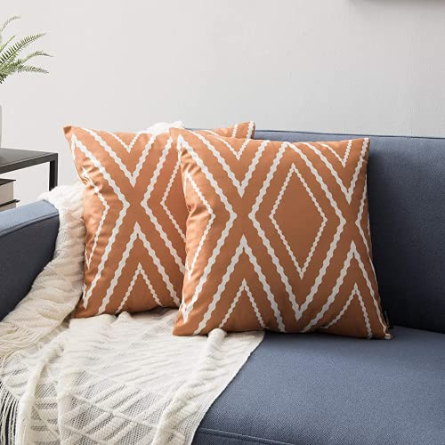 ZHILING Set of 2 Cushion Covers 45x45cm Brown and White Line Home Decorative Square Pillow Covers Decorative Throw Pillow Covers for Sofa Couch Bed Decor with Invisible Zipper 18x18 Inches