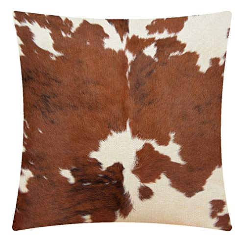 CANSEGO Leopard Farm Animal Tri Color Brown Cow Cushion Cover, Cotton Linen Throw Pillow Case Square Standard Home Decorative for Sofa Bedroom Men/Women 18x18 Inch