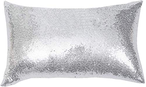 Eternal Beauty Decorative Rectangular Sequin Cushion Covers 12'x20',Sparkling Throw Pillow Case for Home Decor Party Wedding with Invisible Zipper,Silver (30cmx50cm)