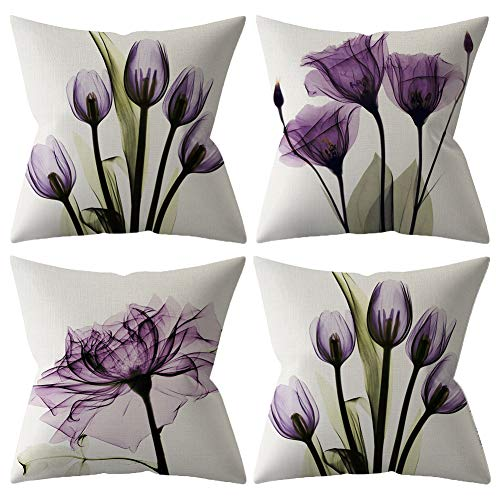 BCKAKQA Decorative Throw Pillow Covers 18x18 inches Set of 4 Purple Flower Cushion Covers 45cm x 45cm Boho Linen Square Throw Pillow Cases for Living Room Sofa Couch Bed Pillowcases