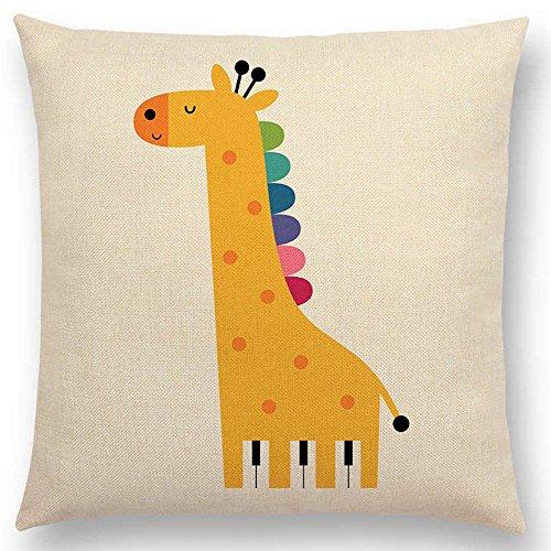 The Beach Stop Cartoon Animal Creative Designs Cushion Covers (Rainbow Giraffe)