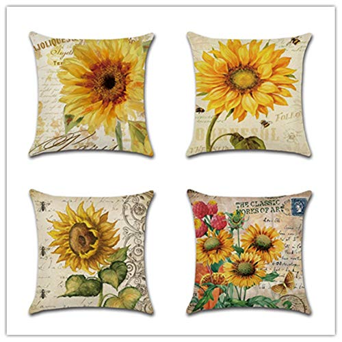 HYOOPL Cushion Covers 35x35cm 14x14 Inch Square Throw Pillow Case set of 4,Linen Cotton with Invisible Zipper Decorative Cushion Covers for Sofa Bedroom, Sunflower A4097