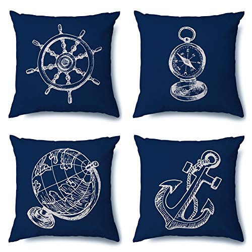 Artscope Cushion Cover Set of 4 Decorative Square Pillowcase Throw Pillow Covers 45x45cm for Home Sofa Bedroom Car Decor (Blue Nautical)