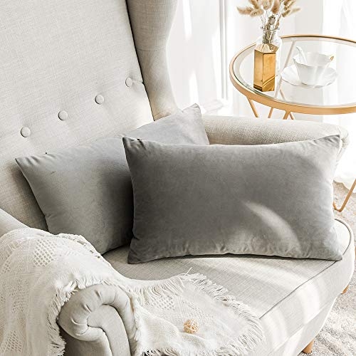 MIULEE Velvet Soft Soild Microfiber Decorative Square Pillow Case Throw Cushion Cover for Sofa Bedroom with Invisible Zipper Grey 12x20 inch 2 Pieces