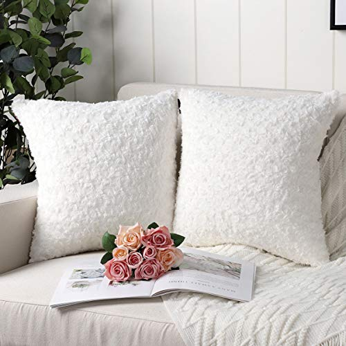 Mandioo White Faux Fur Cushion Covers 24x24 Inch 3D Flower Pattern Fuzzy Cozy Soft Decorative Throw Pillowcases for Couch Sofa Bedroom Car 60cmx60cm,Pack of 2