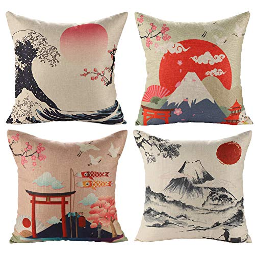 JOTOM Cushion Covers Decorative Square Throw Pillow Cover Sofa Car Pillowcase for Outdoor Home Bed Decor 45cm x 45cm,Set of 4 (Japanese Style B)