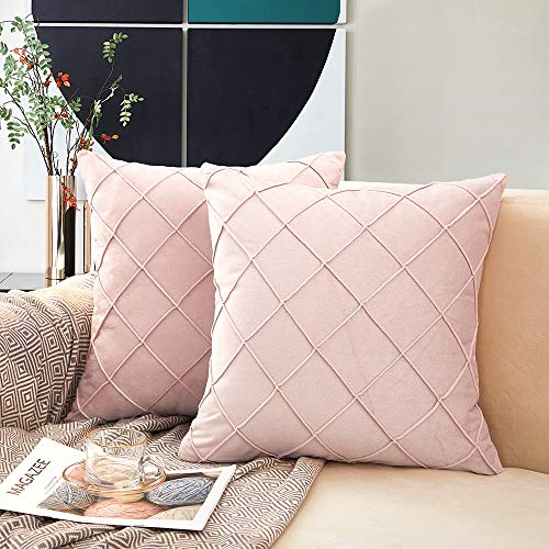 MERNETTE Pack of 2, Velvet Soft Decorative Square Plaid Throw Pillow Cover Cushion Covers Pillow case, Home Decor Decorations For Sofa Couch Bed Chair 18x18 Inch/45x45 cm (Light Pink)