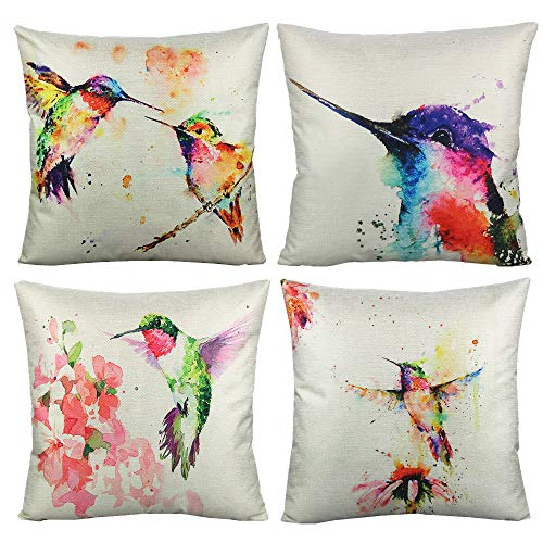 VAKADO Birds Outdoor Cushion Covers Watercolor Painting Floral Hummingbirds Decorative Throw Pillow Covers Home Decor for Sofa Couch Bed 18x18 Set of 4