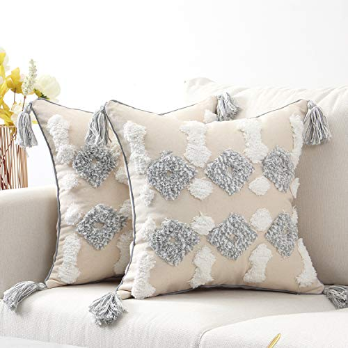 SUNBEAUTY Boho Cushion Covers 45 x 45 Decorative Tufted Cushion Cover 18x18 Pillow Cases Cotton Canvas Geometric Embroidery Pillowcase Grey Pack of 2 for Sofa Couch Bed Living Room Decorations