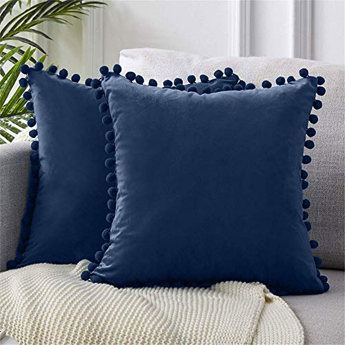 2 Packs Velvet Pompom Cushion Covers 18x18 Inches Soft Square Decorative Throw Pillowcases for Home Decor Sofa Couch Bed (Navy Blue)