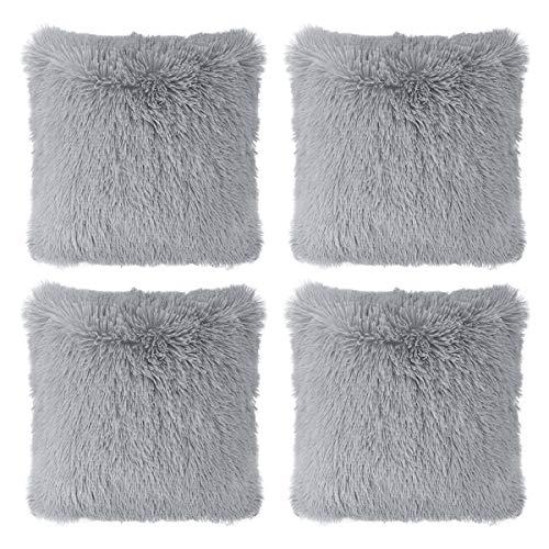 "Hivexagon Faux Fur GREY Pillow Cover Set of 4 (17"" x 17"")"