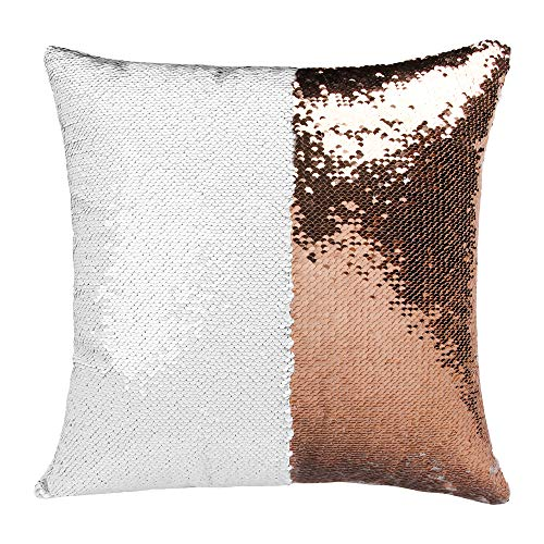 Personalised ROSE GOLD Sequin Cushion Cover Magic Reveal Photo Printed Gift Custom Pillow (Rose Gold, With Pillow)