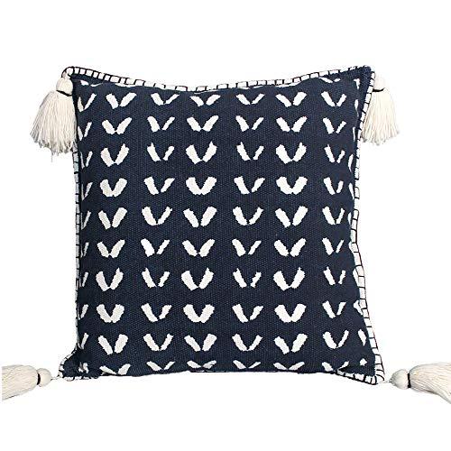 RODASI Black and White Mud Cloth - 45cm x 45cm - Handmade Cushion Cover With Tassels