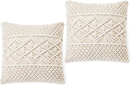 OMG-Deal 2pcs Pillow Cover/Throw Macrame Pillow Case Decorative Cushion Cover 18 Inches Bed Sofa Couch Bench Car Boho Home Decor (Pillow Inserts Not Included)