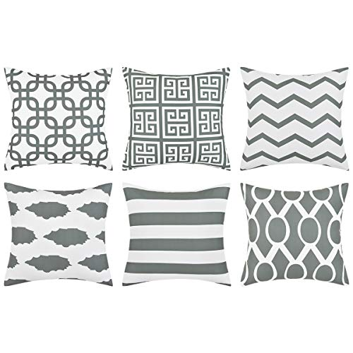 Alishomtll Cushion Covers 45 x 45 cm Set of 6 with Geometric Patterns Decorative Cushion Covers for Sofa Room Decorative Cushion Covers Grey Polyester
