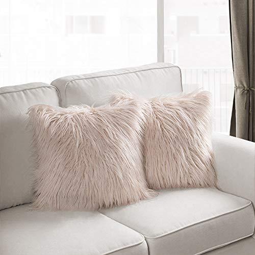 Dricar 2Pcs Luxury Mongolian Faux Fur Throw Pillow Case Cushion Cover, Home Bed Sofa Decorative Cushion Covers 18 x 18in (Beige)