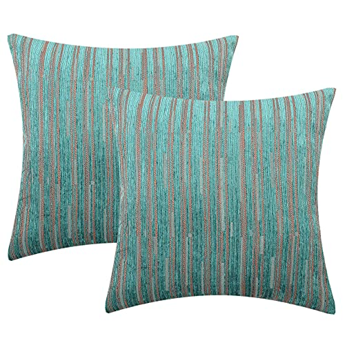 Yeiotsy Pack of 2, Cozy Modern Striped Cushion Covers Decorative Pillow Cases 18 x 18 Inches Cushion Shells for Sofa Bed Car (Teal, 18 X 18 Inches)