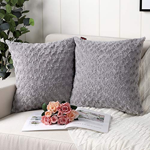 Mandioo Grey Faux Fur Cushion Covers 24x24 Inch 3D Flower Pattern Fuzzy Cozy Soft Decorative Throw Pillowcases for Couch Sofa Bedroom Car 60cmx60cm,Pack of 2