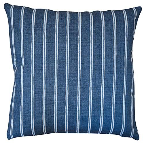 Linen Loft Cambridge Stripe Cushion Cover. Denim Indigo Blue Chalk Stripe, Summer Nautical Inspired Style, Soft 100% Sustainable Cotton. 17' Square. Cover Only.