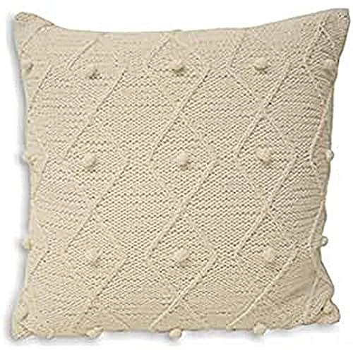 Paoletti Argyll 100% Cotton Bobble Hand Knitted Cushion Cover, White, 55 x 55 Cm