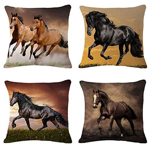 ZHAOCC Cushion Cover Set Of 4 Sets Of Linen Pillowcases Horse Pillowcase Pillow Sofa Cushion Cover Car Seat Cushion Pillowcase 45X45Cm