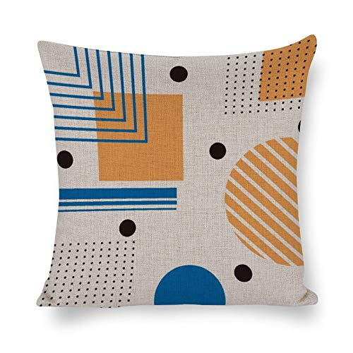 Promini Colorful Geometric Shape Pattern - Throw Pillow Covers Handmade Comfortable Cotton and Linen Pillowcases Soft Cushion House Decor For Car Home Sofa Living Room Bedroom 12' x 12'