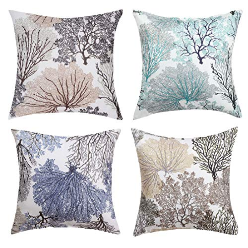 sourcing map Set of 4 Throw Pillow Case Square Coral Coastal Beach Floral Printed Decorative Cushion Cover Double Side Design 18' x 18' 45 Cm x 45 Cm