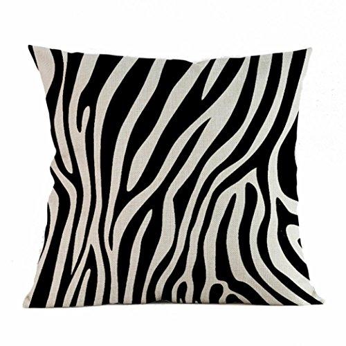 Home Decor Zebra Series Print Cushion Cover Linen Blend Throw Pillowcase Sofa Pillow Covers (45 x 45cm) (B)