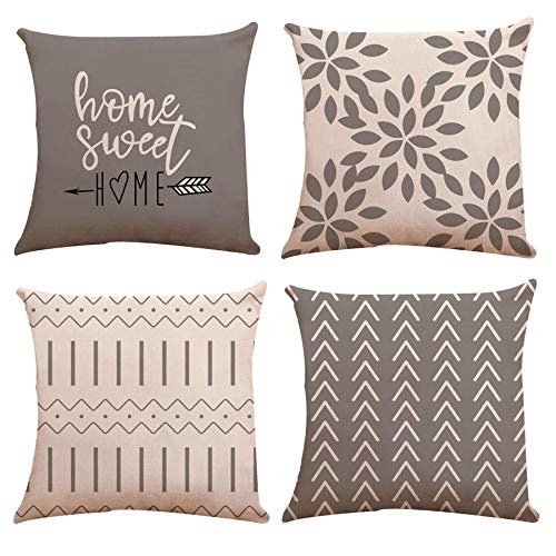 YCOLL Cushion Covers 20x20 Inch, Set of 4 Pillow Covers Pillow Case Cushion Covers for Sofa Outdoor Garden Bed Couch Cushions 20'x20'50cmx50cm(Set of 4 )