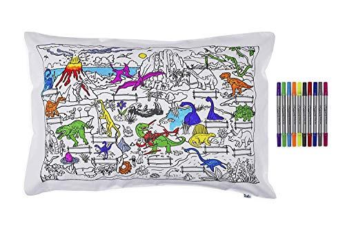 eatsleepdoodle Dinosaur Pure Cotton Soft Pillowcase - Colour Your Own Doodle Pillowcase with Fun, Educational Dinosaur Scene - Kid's Dinosaurs Colouring Pillowcase with Washable Felt Tip Fabric Pens