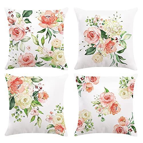 Bonhause Flower Cushion Covers 18 x 18 Inch Set of 4 Pink Peony Floral Decorative Throw Pillow Covers Soft Velvet Pillowcases for Sofa Couch Car Bedroom Home Decor, 45cm x 45cm