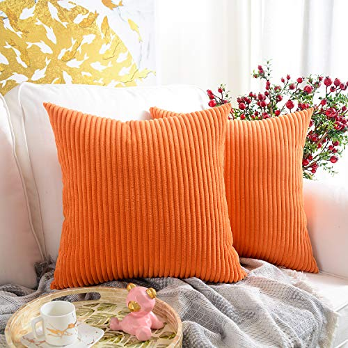 MERNETTE Pack of 2, Corduroy Soft Decorative Square Throw Pillow Cover Cushion Covers Pillowcase, Home Decor Decorations For Sofa Couch Bed Chair 18x18 Inch/45x45 cm (Striped Orange)