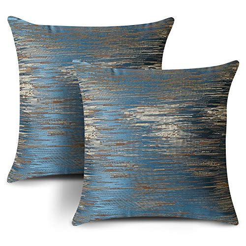 Artscope Set of 2 Cozy Jacquard Polyester Cushion Covers for Bed Couch Sofa Car Decor, Navy Blue Luxury Modern Abstract Striped Textured Square Pillowcase Throw Pillow Covers 45x45cm