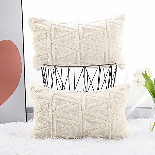 Madizz Set of 2 Soft Plush Short Wool Velvet Decorative Cushion Covers Luxury Style Throw Pillow Cases Pillow Shell for Sofa Bedroom Beige 12x20 inch Rectangular