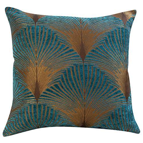 Linen Loft Extra Large Art Deco Fan Cushion Cover. Teal and Gold Velvet Chenille. Double Sided Geometric Feather Style. 23'x23' Square Floor Pillow Case.