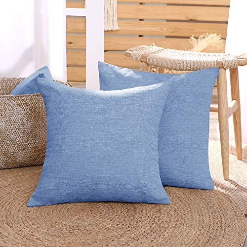 Deconovo Set of 2 Super Soft Faux Linen Throw Pillow Covers 18 x 18 Square Pillowcases Plain Cushion Covers for Sofas Dark Blue 45cmx45cm