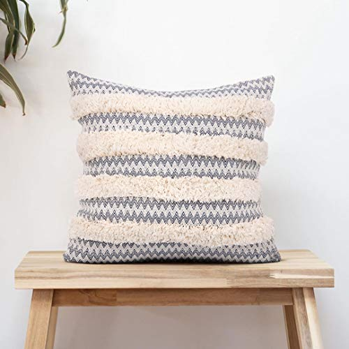 cygnus Boho Decorative Pillow Covers Cotton Woven Modern Wave Textured Moroccan Farmhouse Cushion Case for Couch Sofa 18x18 inch,Navy Blue and Cream