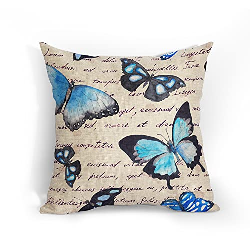 Vintage Blue Butterfly Cushion Covers 18x18 Inch Soft Cotton Linen Word Pillow Case White Blackground Farmhouse Home Decor Cushions Cover Gift for Women/Girls Outdoor Bedroom Couch Sofa Living Room
