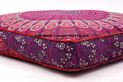 Handicraft-Palace LARGE Peacock Mandala Floor Pillow Indian Square Cushion Cover Ottoman Oversized Daybed Sofa Ethnic Pouf Meditation Pillow Throw