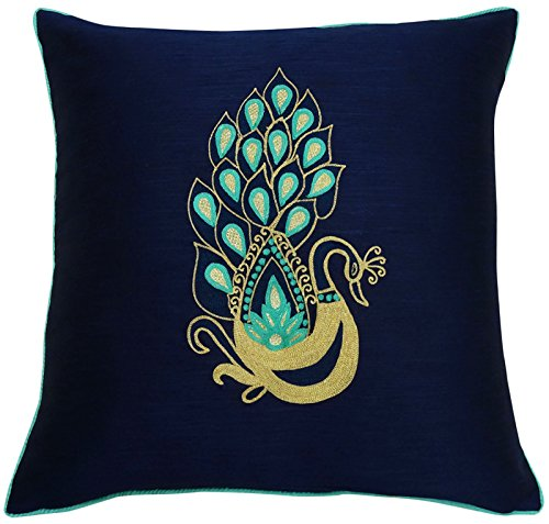 S4Sassy Blue Peacock Embroidered Square Pillow Cover Decorative Polyester Dupion Cushion Cover-14 x 14 Inches