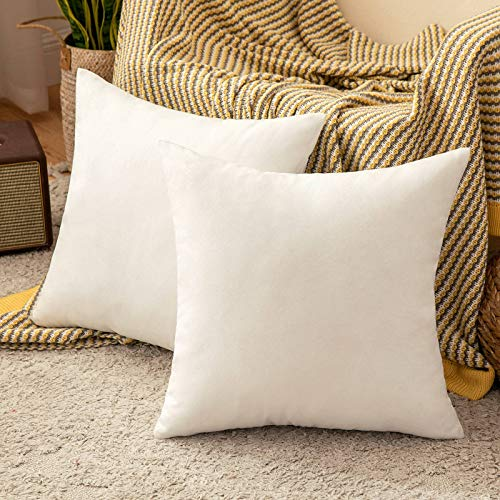 MIULEE Cushion Covers 20x20 Inches Set of 2 Decorative Throw Pillow Covers for Furniture Patio Couch Sofa Bed Linen Balcony Outside Cushions for Waterproof Garden, 50x50 cm White
