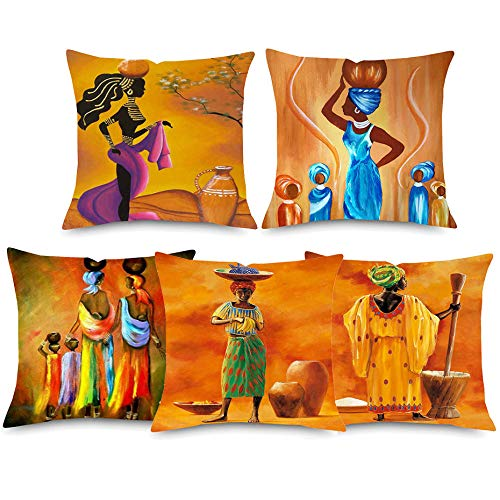 JWEK Cushion Cover 5 Piece Set Sofa Hug Pillowcase African Woman Oil Painting Pad Set Dancing Woman Orange Pillowcase Pillowcase Bedroom Decoration 45X45Cm