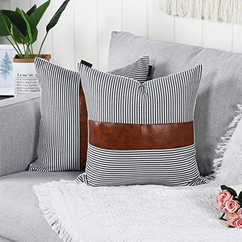 Mandioo Black Farmhouse Decorative Cushion Covers 16x16 Inches Boho Accent Throw Pillowcases for Couch Sofa Bedroom Faux Leather Cotton Linen Stripe 40cmx40cm,Pack of 2